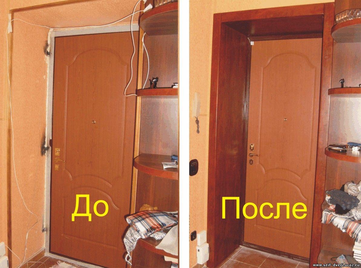 Установка доборов и наличников на входную дверь своими рукам.